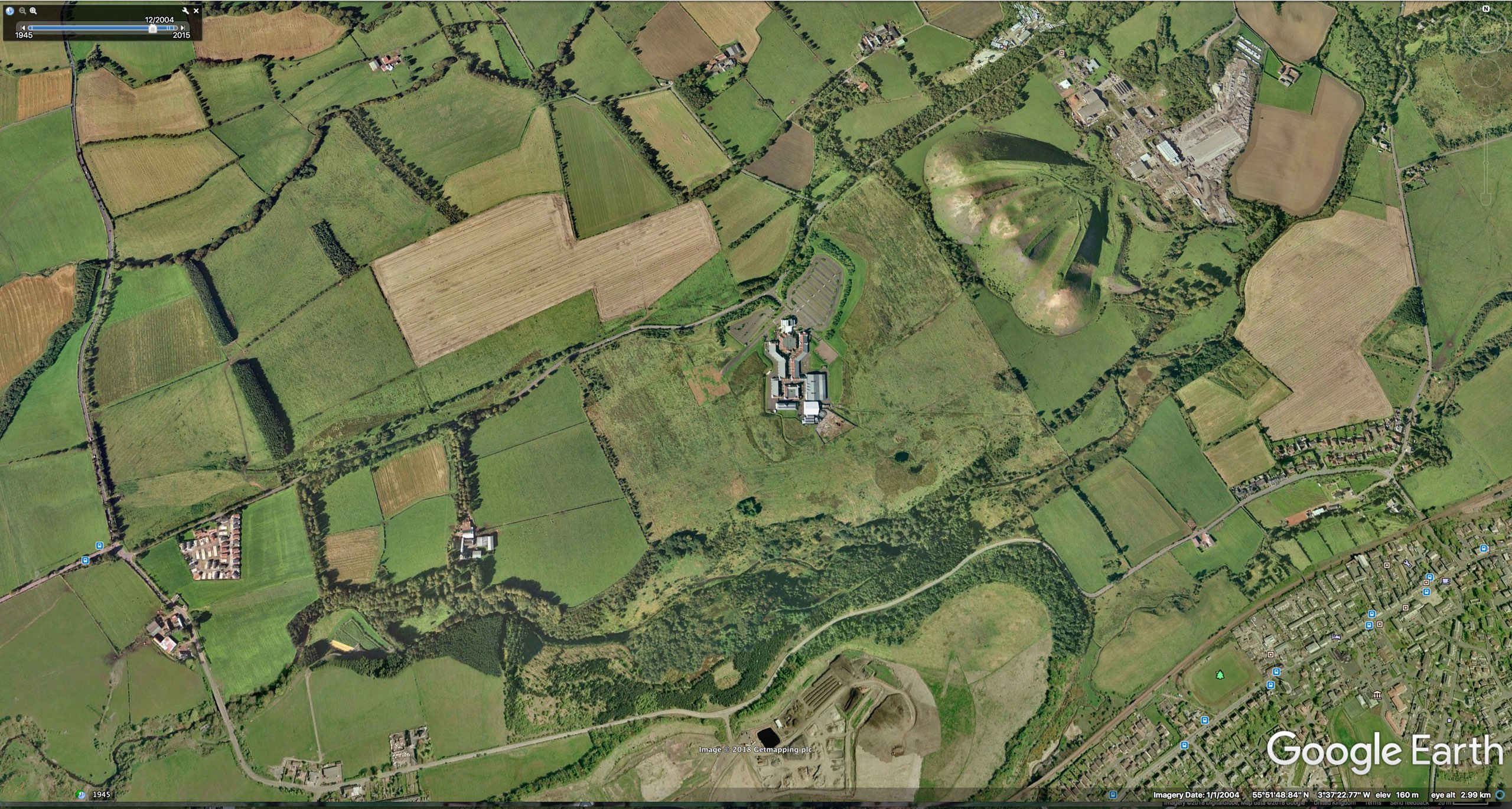 Google Earth screen shot of a contemporary Five Sisters, alongside Cuthill mine water treatment scheme (AERIAL LANDSCAPES 0)