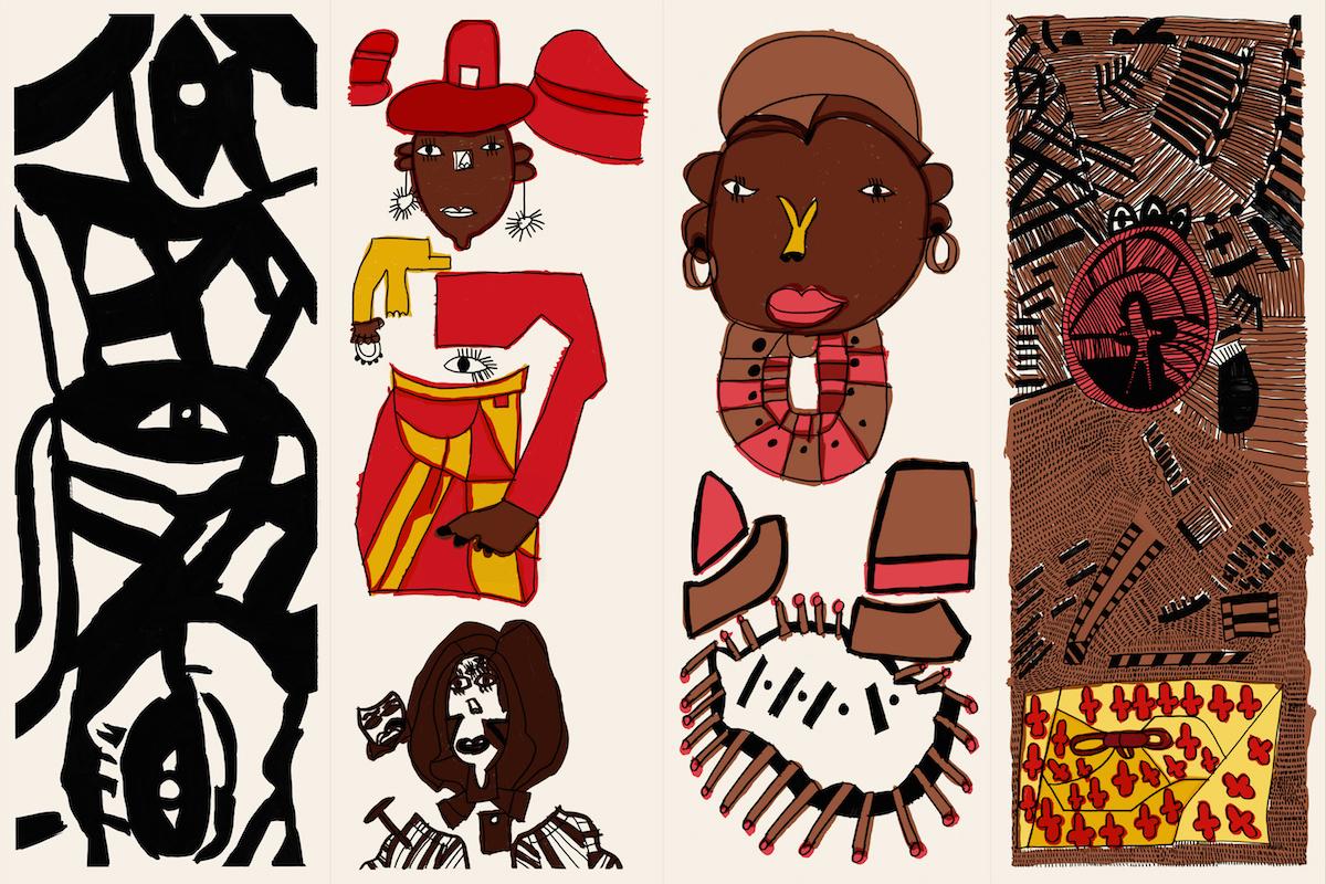 Ntiense Eno-Amooquaye Art Deco Zebra Crossing, 2021, Dressing Screen (Ntiense Eno-Amooquaye 2)
