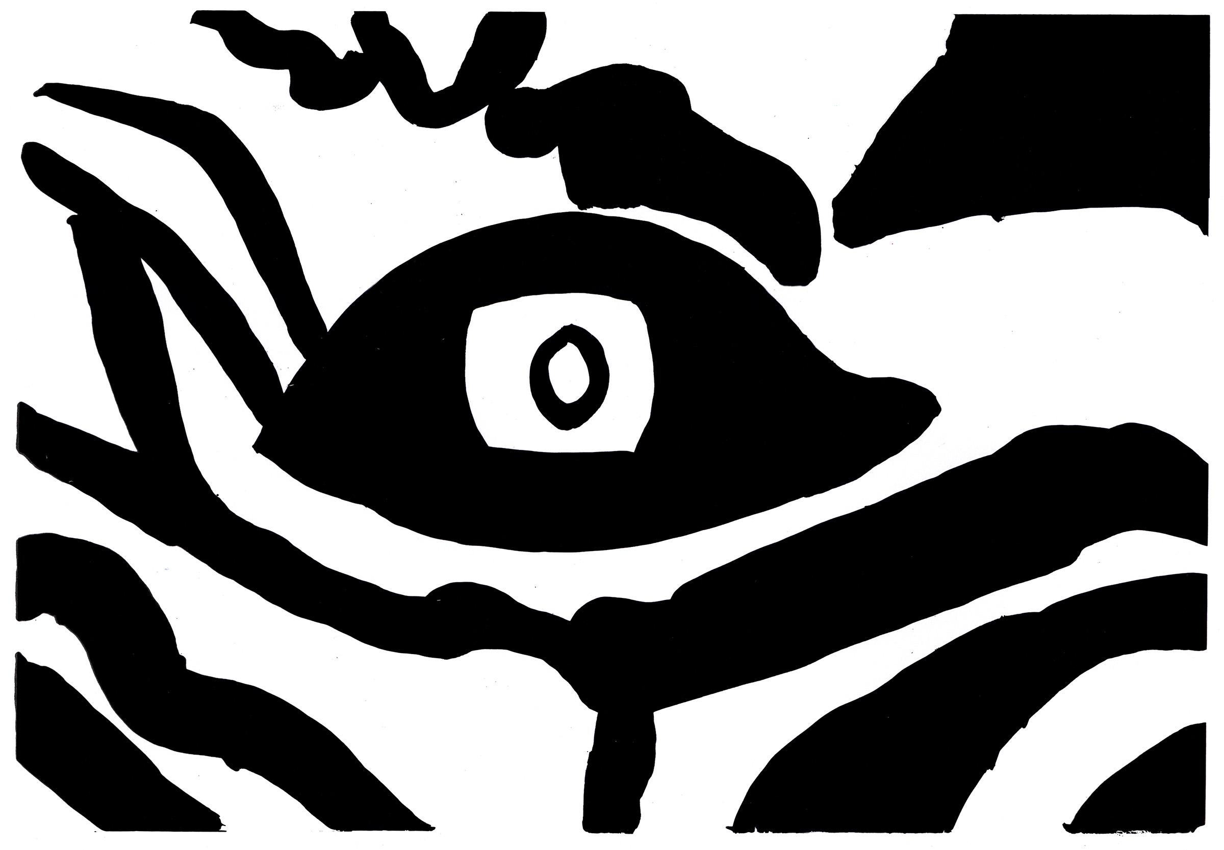 Ntiense Eno-Amooquaye Zebra Eye Deco Crossing, 2019, Ink on paper (Ntiense Eno-Amooquaye 3)