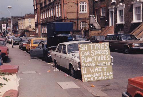 Bellenden Road in 1986 photographed by John Latham (The Bandits Live Comfortably In the Ruins: led by Sean Lynch 0)