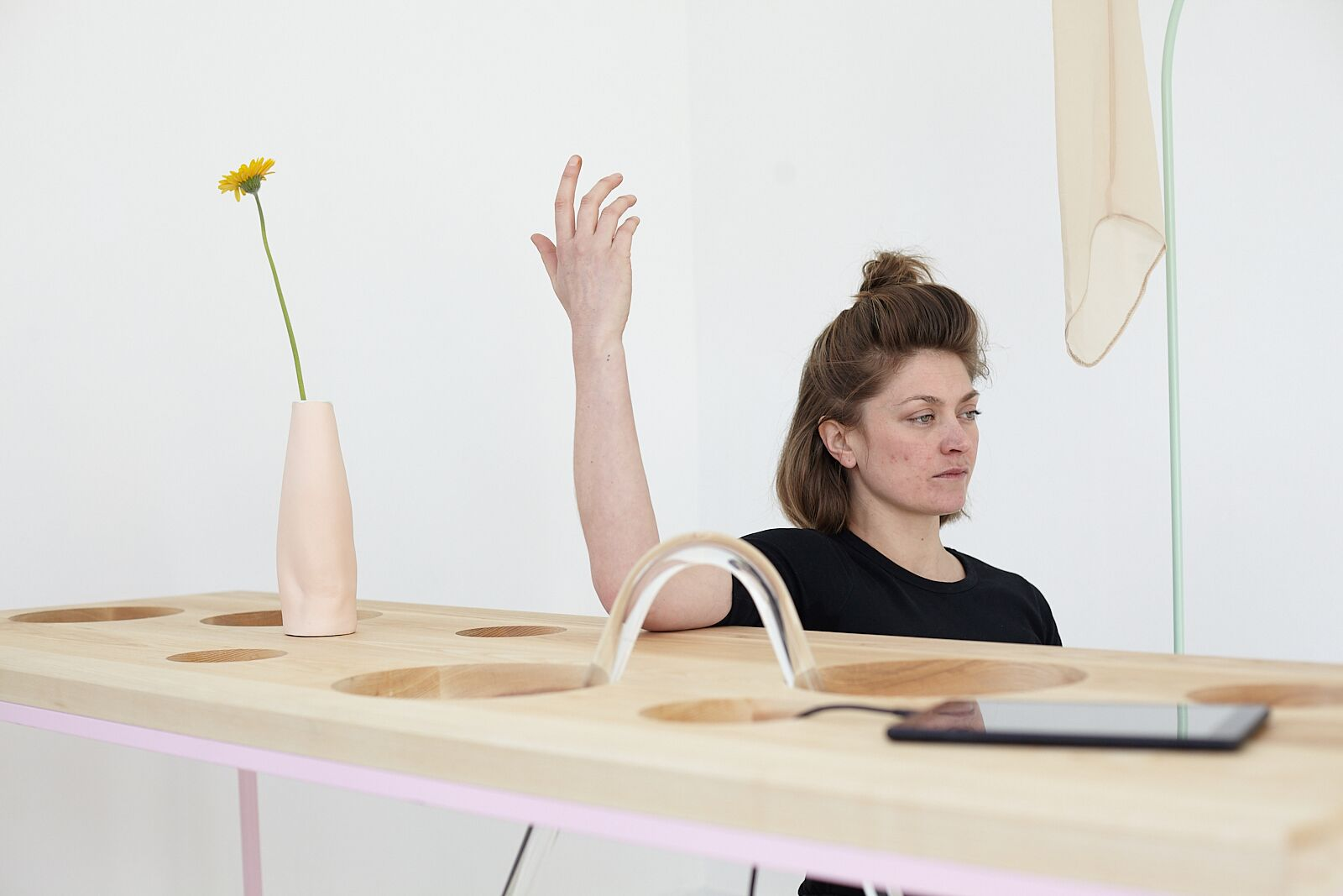 Ben Cain, Passive Imperative Participation Vibe, documentation of performance with Emma Hoette, 2018. Photography: Andrew Magurran (Ben Cain - In Conversation 0)