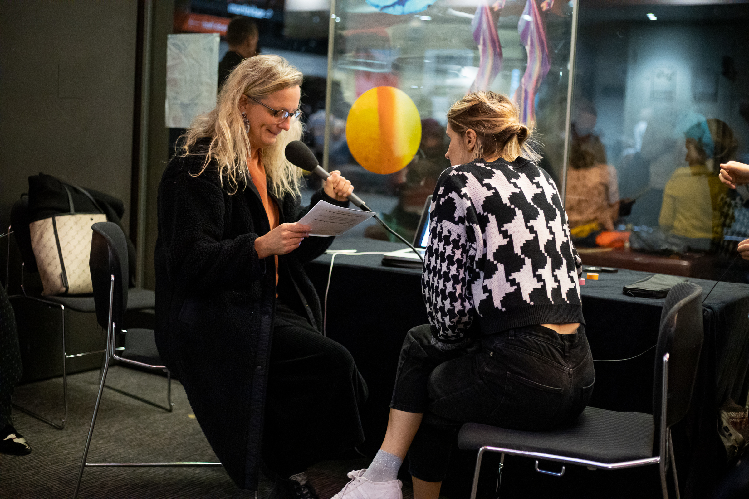 Constellations 2019–20, Barbican. Show me the face of your digital voice, by Hannah Kemp-Welch, Dunya Kalantery and Amanda Ramasawmy. Photo: Mac Praed Media (CONSTELLATIONS 2020–21 ARTIST OPEN CALL 1)