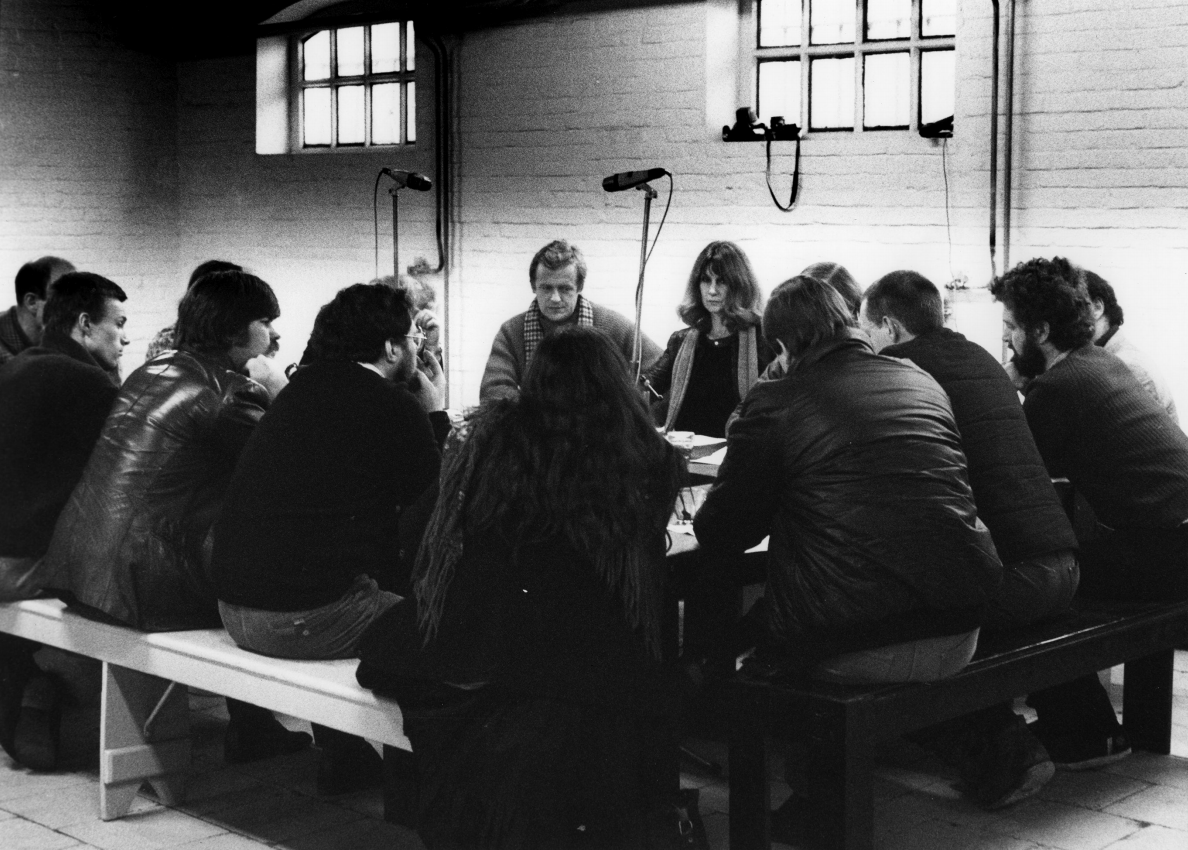 APG discussion (including Hugh Davies [right, with beard], Barbara Steveni [centre] and Nicholas Tresilian [left, with scarf]), Het Apollohuis, Eindhoven, 1982. (Incidental Futures at Summerhall, Edinburgh  0)
