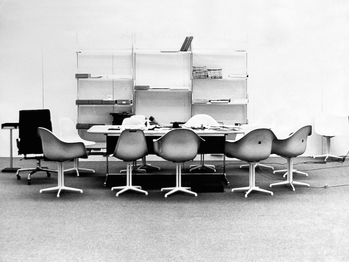 Installation shot of the Industrial Board Room from Art and Economics, an APG exhibition held at the Hayward Gallery, London in 1971-2. © APG/Tate Archive. (INCIDENTAL UNIT COORDINATOR ANNOUNCED 1)