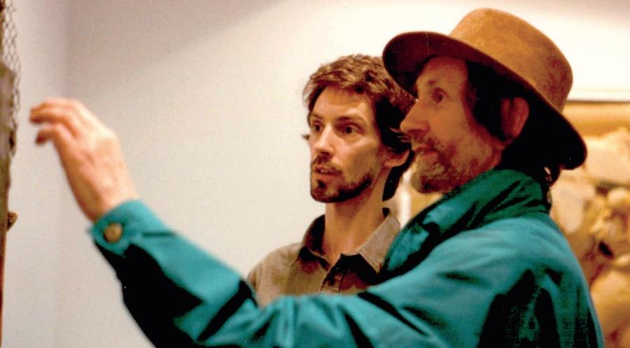 Noa (left) with John Latham at the Josh Bear Gallery, 1989 (NOIT — 4  Reflections 2)