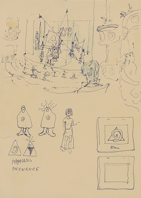 Barry Flanagan UBU production + pataphysical theme (1994) pen & ink drawing courtesy Barry Flanagan Foundation (PHYNANCE RESIDENCY 2)