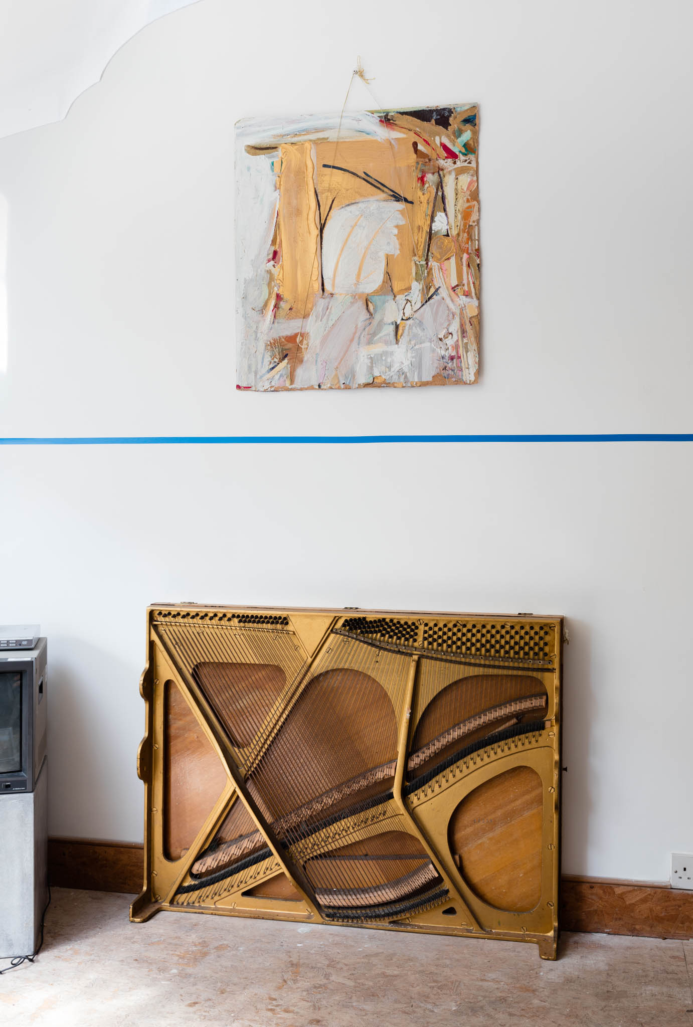 Carlyle Reedy, 'The Harp', Undated; Edward Krasinski, blue electrical tape, 1968/2016 (The Shift 13)