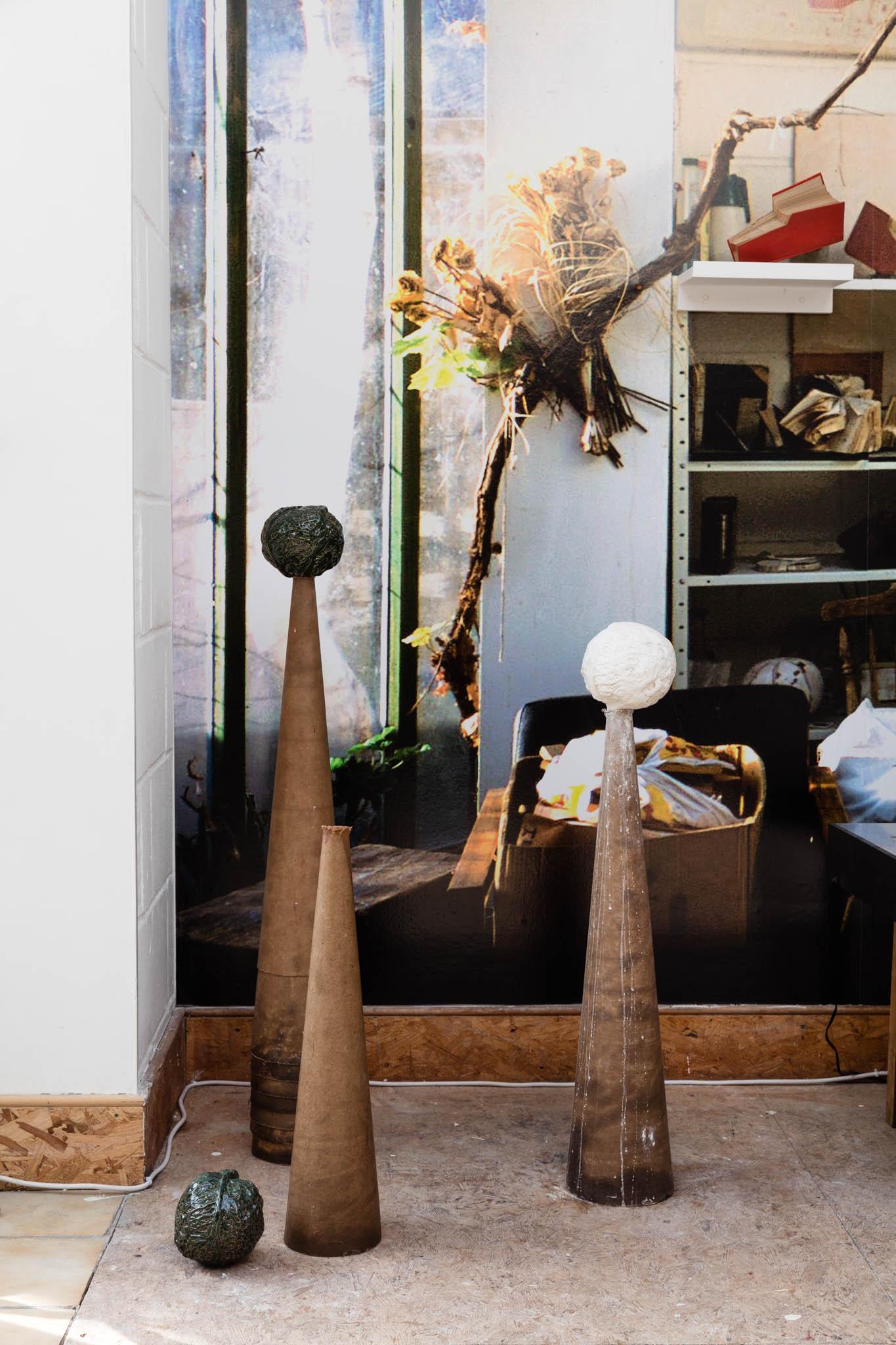 On floor: Melanie Jackson, 'Die Welt ist Kraut und Ruben durcheinander', 2013; Wallpaper: Ryumi Greatorex, The Hand, 2007; John Latham, 'Alison of Noggarth Hall', Date unknown (The Shift 15)
