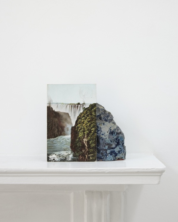 A postcard of Victoria Falls leaning against a geological sample from John Latham's mantlepiece (2012) Digital C Print, 85 x 51.25cm (STUART WHIPPS:  1)