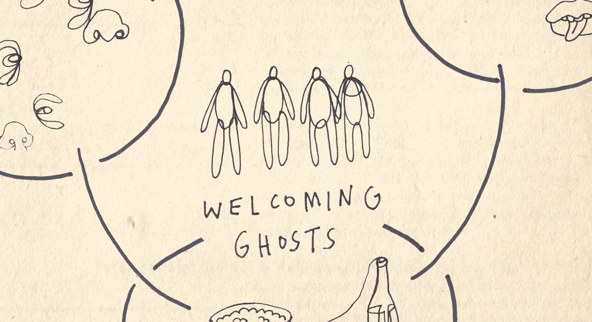 Welcoming Ghosts illustration by Joy Miessi.  (Welcoming Ghosts - Constellations 0)